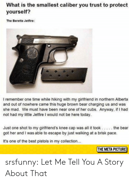 Tumblr, Bear, and Best: What is the smallest caliber you trust to protect  yourself?  The Beretta Jetfire:  I remember one time while hiking with my girlfriend in northern Alberta  and out of nowhere came this huge brown bear charging us and was  she mad. We must have been near one of her cubs. Anyway, if I had  not had my little Jetfire I would not be here today.  Just one shot to my girlfriend's knee cap was all it took....the bear  got her and I was able to escape by just walking at a brisk pace.  It's one of the best pistols in my collection..  THE META PICTURE srsfunny:  Let Me Tell You A Story About That