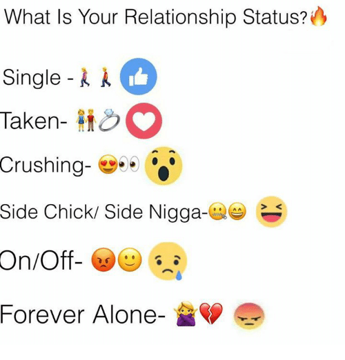 Being Alone, Memes, and Side Chick: What Is Your Relationship Status?  Single-k k  Taken-  Crushing- ..  Side Chick/ Side Nigga-  Single-//  Forever Alone-