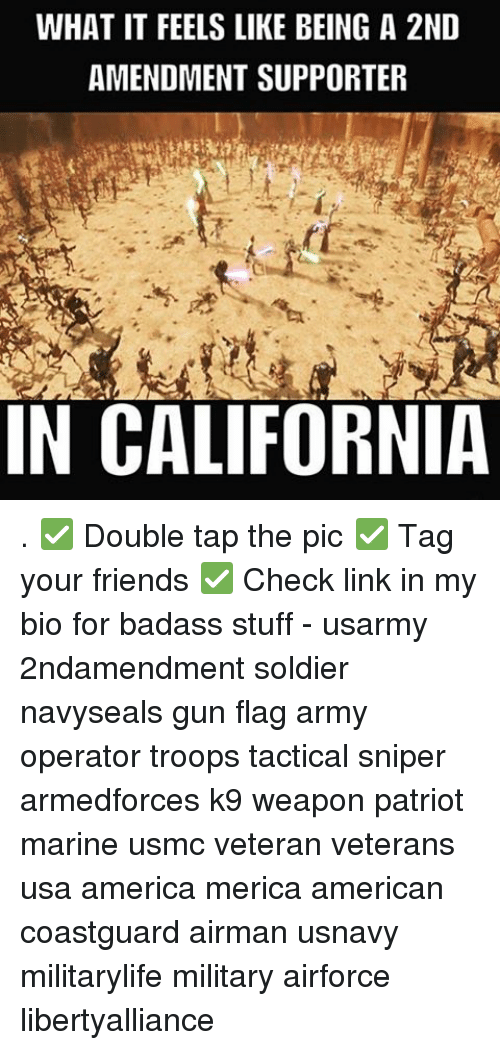 Memes, 2nd Amendment, and 🤖: WHAT IT FEELS LIKE BEING A 2ND  AMENDMENT SUPPORTER  IN CALIFORNIA . ✅ Double tap the pic ✅ Tag your friends ✅ Check link in my bio for badass stuff - usarmy 2ndamendment soldier navyseals gun flag army operator troops tactical sniper armedforces k9 weapon patriot marine usmc veteran veterans usa america merica american coastguard airman usnavy militarylife military airforce libertyalliance