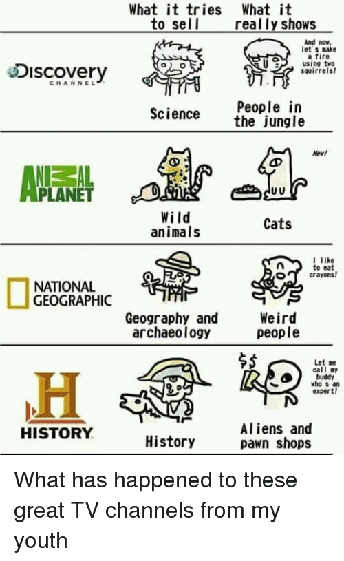 Animals, Cats, and Fire: What it tries What it  to sel l  really shows  And now  let s make  a fire  U using tve  esiscovery  squirrels  CHANNEL  People in  the jungle  Science  Hew!  PLANET  Wild  animals  Cats  like  to eat  crayons!  O  NATIONAL  GEOGRAPHIC  Geography and  archaeology  Weird  people  $5  Let :e  call ny  buddy  who s an  expert!  Aliens and  pawn shops  HISTORY  History What has happened to these great TV channels from my youth