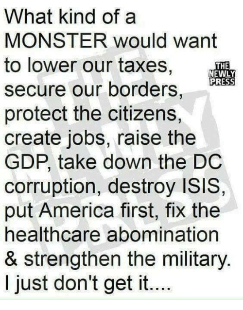 America, Isis, and Memes: What kind of a  MONSTER would want  to lower our taxes,  secure our borders,  protect the citizens,  create jobs, raise the  GDP, take down the DC  corruption, destroy ISIS,  put America first, fix the  healthcare abomination  & strengthen the military.  I just don't get it...  THE  PRESS