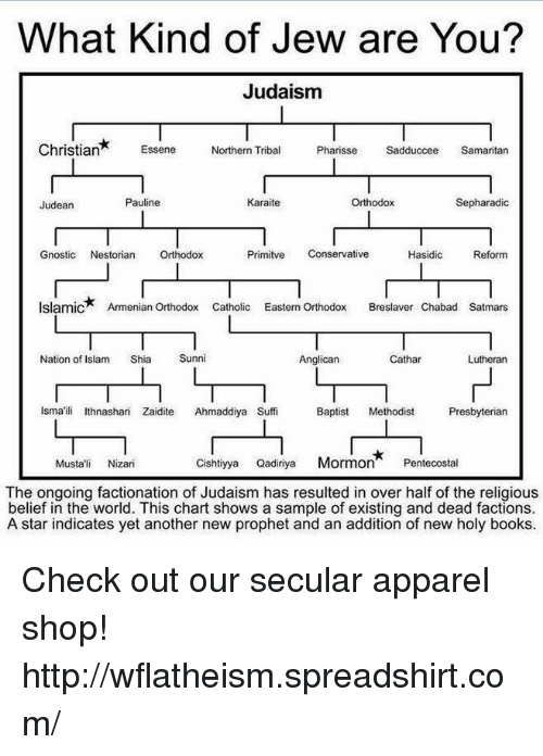 Memes, Islam, and Catholic: What Kind of Jew are You?  Judaism  Christian  Essene  Northern Tribal  Pharisse  Sadduccee  Samaritan  Pauline  Karaite  Orthodox  Sepharadics  Judean  Primitve  Conservative  Hasidic  Reform  Gnostic  Nestorian  Orthodox  Islamic* Armenian Orthodox Catholic Eastern Orthodox  Breslaver Chabad satmars  Nation of Islam  Shia  Sunni  Anglican  L L  Cathar  Lutheran  Ismaili thnashari Zaidite Ahmaddiya Suffi Baptist  Methodist  Presbyterian  Cishtiyya Qadiriya  Mormon  Pentecostal  Musta' Nizari  The ongoing factionation of Judaism has resulted in over half of the religious  belief in the world. This chart shows a sample of existing and dead factions.  A star indicates yet another new prophet and an addition of new holy books. Check out our secular apparel shop! http://wflatheism.spreadshirt.com/