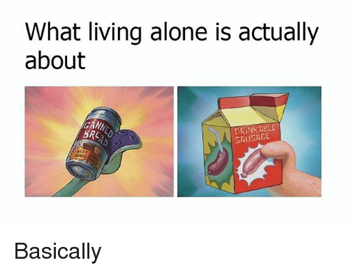 Being Alone, Memes, and Living: What living alone is actually  about  CANN  DRINKABLE  SAUSAGE Basically