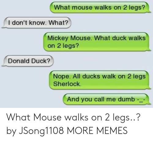 donald duck: What mouse walks on 2 legs?  l don't know. What?  Mickey Mouse. What duck walks  on 2 legs?  Donald Duck?  Nope. All ducks walk on 2 legs  Sherlock.  And you call me dumb What Mouse walks on 2 legs..? by JSong1108 MORE MEMES