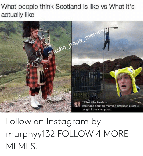 Walkin: What people think Scotland is like vs What it's  actually like  echo_papa_memes  robbie RobbieeSmart  walkin ma dog this morning and seen a junkie  hangin from a lamppost Follow on Instagram by murphyy132 FOLLOW 4 MORE MEMES.