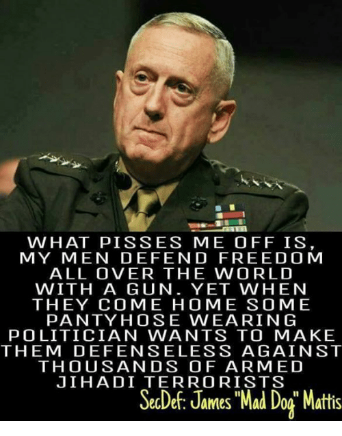 "Memes, Free, and Home: WHAT PIS SES ME OFF IS  MY MEN DEFEND FREE DO M  ALL OVER THE WORLD  WITH A GUN. YET WHEN  THEY COME HOME SOME  PANTY HOSE WEARING  POLITICIAN WANTS TO MAKE  THEM DEFENSELESS AGAINST  THOUSANDS OF ARMED  JIHADI TERRORISTS  SecDef, James Mad Dog"" Mattis"