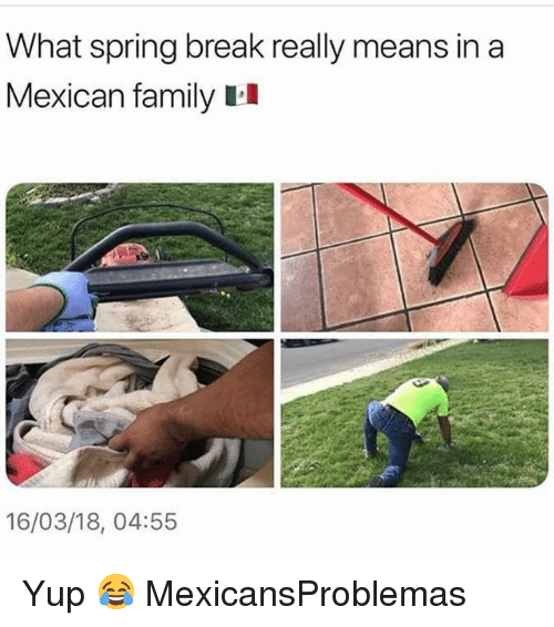 Family, Memes, and Spring Break: What spring break really means in a  Mexican family II  16/03/18, 04:55 Yup 😂 MexicansProblemas