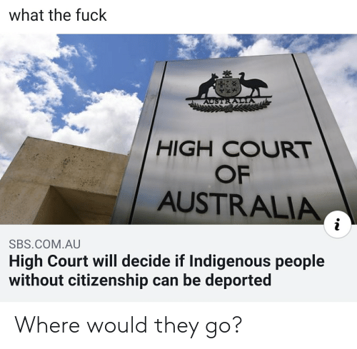 Australia, Fuck, and Dank Memes: what the fuck  豈  HIGH COURT  OF  AUSTRALIA  SBS COM.AU  High Court will decide if Indigenous people  without citizenship can be deported Where would they go?