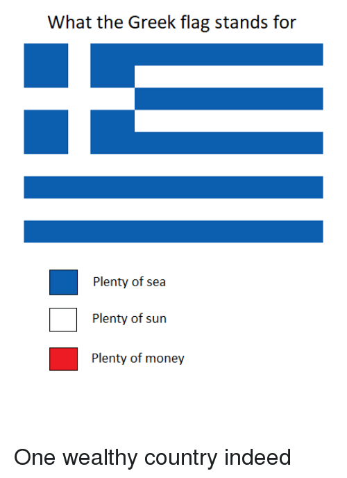 Money, Indeed, and Dank Memes: What the Greek flag stands for  Plenty of sea  Plenty of sun  Plenty of money