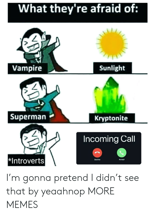 Dank, Memes, and Superman: What they're afraid of:  Vampire  Sunlight  |Superman  Kryptonite  Incoming Call  Introverts  Accept  Decline I'm gonna pretend I didn't see that by yeaahnop MORE MEMES