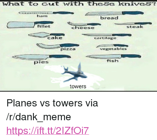 "Dank, Meme, and Pizza: What to Cut with theSe knives?  ham  bread  fillet  steak  Cake  cartilage  Pizza  vegetables  fish  pies  towers <p>Planes vs towers via /r/dank_meme <a href=""https://ift.tt/2IZfOi7"">https://ift.tt/2IZfOi7</a></p>"