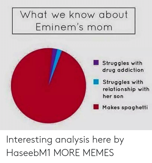 analysis: What we know about  Eminem's mom  Struggles with  drug addiction  Struggles with  relationship with  her son  Makes spaghetti Interesting analysis here by HaseebM1 MORE MEMES
