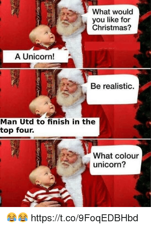 Christmas, Soccer, and Unicorn: What would  you like for  Christmas?  A Unicorn!  Be realistic.  Man Utd to finish in the  top four.  What colour  unicorn? 😂😂 https://t.co/9FoqEDBHbd