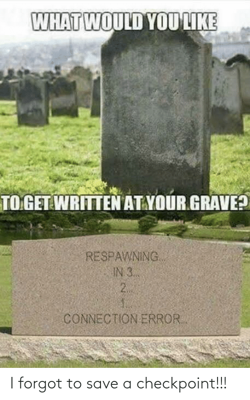 grave: WHAT WOULD YOU LIKE  TO GET WRITTEN AT YOUR GRAVE?  RESPAWNING  IN 3..  2.  CONNECTION ERROR. I forgot to save a checkpoint!!!