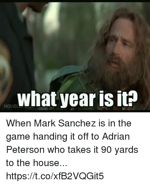 Mark Sanchez: what year is it? When Mark Sanchez is in the game handing it off to Adrian Peterson who takes it 90 yards to the house... https://t.co/xfB2VQGit5