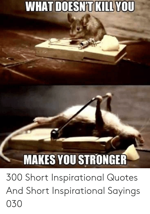 Quotes And: WHAT  YOU  DOESNT KILL  MAKES YOU STRONGER 300 Short Inspirational Quotes And Short Inspirational Sayings 030