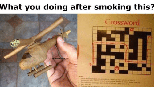 Smoking, What You Doing, and You: What you doing after smoking this?  Crossword  Analprojection