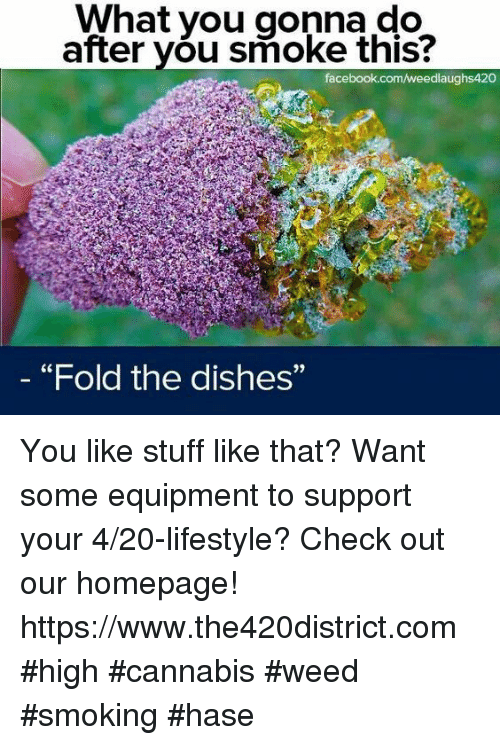 """Facebook, Smoking, and Weed: What you gonna do  after you smoke this?  facebook.com/weedlaughs420  """"Fold the dishes""""  9) You like stuff like that? Want some equipment to support your 4/20-lifestyle? Check out our homepage! https://www.the420district.com #high #cannabis #weed #smoking #hase"""