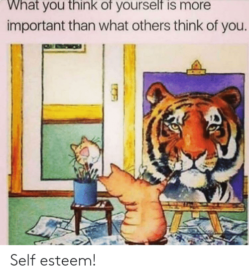 self esteem: What you think of yourself is more  important than what others think of you Self esteem!