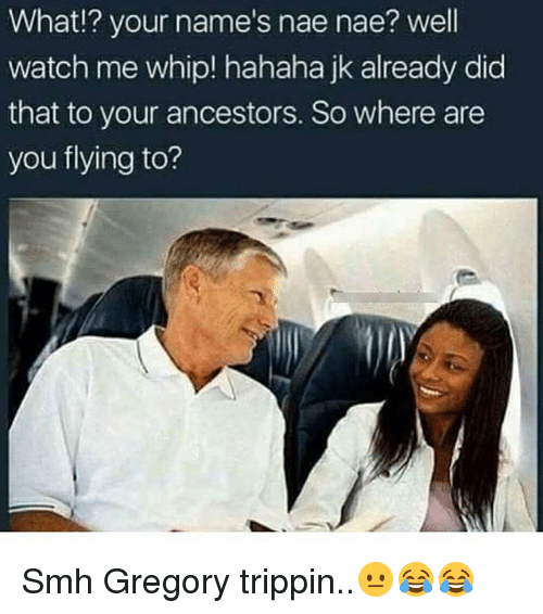 nae nae: What!? your name's nae nae? well  watch me whip! hahaha jk already did  that to your ancestors. So where are  you flying to? Smh Gregory trippin..😐😂😂