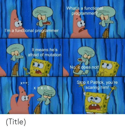 Him, Means, and Whats: What's a functional  programmer?  I'm a functional programmer  It means he's  afraid of mutation  No, it does not!  Stop it Patrick, you're  scaring him!  X++  XX-5; (Title)