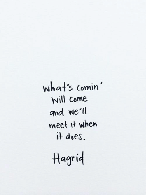 Hagrid, Will, and Whats: what's comin'  will Come  gnd we'll  meet it when  it does.  Hagrid