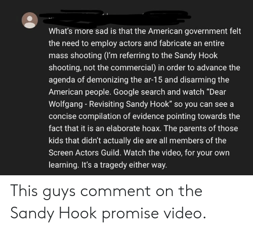 """Google, Parents, and American: What's more sad is that the American government felt  the need to employ actors and fabricate an entire  mass shooting (I'm referring to the Sandy Hook  shooting, not the commercial) in order to advance the  agenda of demonizing the ar-15 and disarming the  American people. Google search and watch """"Dear  Wolfgang Revisiting Sandy Hook"""" so you can see a  concise compilation of evidence pointing towards the  fact that it is an elaborate hoax. The parents of those  kids that didn't actually die are all members of the  Screen Actors Guild. Watch the video, for your own  learning. It's a tragedy either way. This guys comment on the Sandy Hook promise video."""
