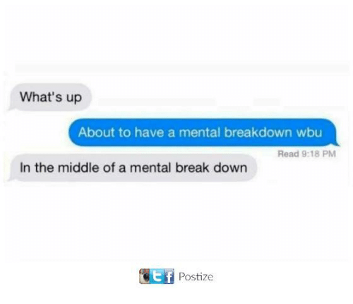 Funny, Tumblr, and Break: What's up  About to have a mental breakdown wbu  Read 9:18 PM  In the middle of a mental break down  Postize