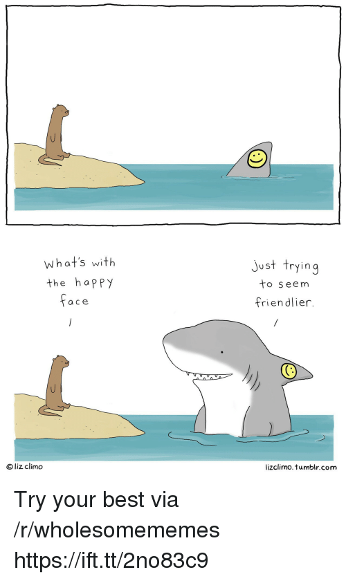 Lizclimo Tumblr: what's with  the happy  just trying  to seem  friendlier.  a ce  O liz climo  lizclimo. tumblr.com Try your best via /r/wholesomememes https://ift.tt/2no83c9