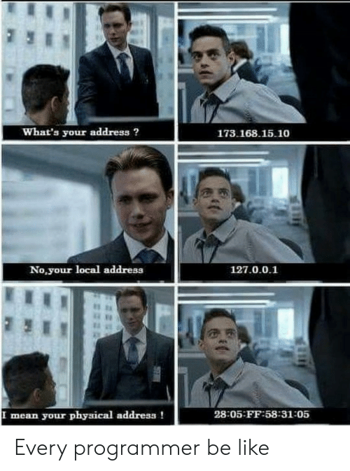 Be Like, Mean, and Physical: What's your address?  173.168.15.10  No,your local address  127.0.0.1  28:05 FF-58:31-05  your physical address !  mean  523 Every programmer be like