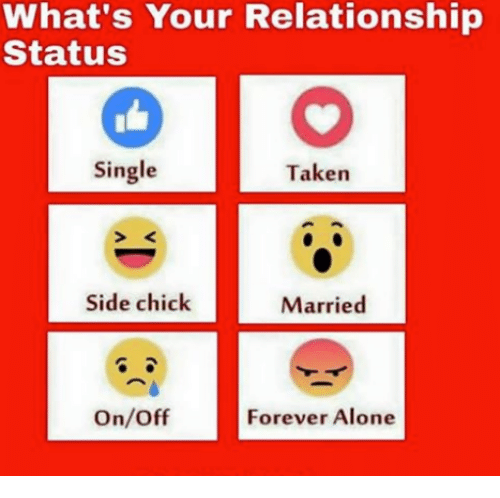 Being Alone, Memes, and Side Chick: What's Your Relationship  Status  Single  Taken  Side chick  Married  On/Off  Forever Alone