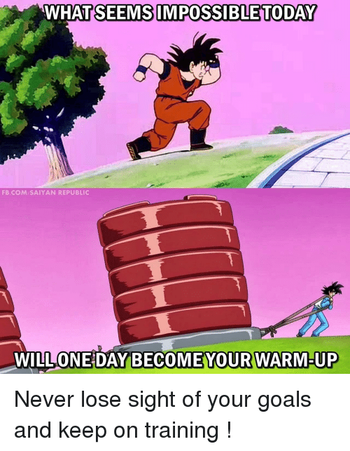Goals, fb.com, and Today: WHATSEEMS IMPOSSIBLE TODAY  FB.COM SAIYAN REPUBLIC  WILL ONE DAY  BECOMEYOUR WARM-UP Never lose sight of your goals and keep on training !