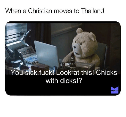 You Sick Fuck: When a Christian moves to Thailand  You sick fuck! Look at this! Chicks  with dicks!?  MEMES Good, good