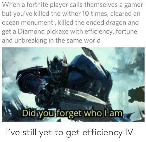 Diamond, Ocean, and World: When a fortnite player calls themselves a gamer  but you've killed the wither 10 times, cleared an  ocean monument, killed the ended dragon and  get a Diamond pickaxe with efficiency, fortune  and unbreaking in the same world  Did you forget who am I've still yet to get efficiency IV