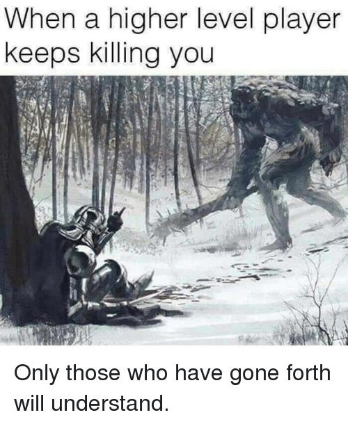 Player, Who, and Gone: When a higher level player  keeps killing you Only those who have gone forth will understand.