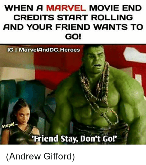 Memes, Heroes, and Marvel: WHEN A MARVEL MOVIE END  CREDITS START ROLLING  AND YOUR FRIEND WANTS TO  GO!  IG I MarvelAndDC Heroes  Stup  Friend Stay, Don't Go! (Andrew Gifford)