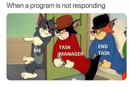 Program, Manager, and End: When a program is not responding  TASK  MANAGER  END  TASK  ME