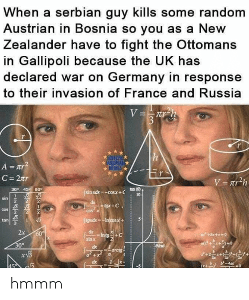 In Response To: When a serbian guy kills some random  Austrian in Bosnia so you as a New  Zealander have to fight the Ottomans  in Gallipoli because the UK has  declared war on Germany in response  to their invasion of France and Russia  309 45 60°  sin xdx-cosx+ C  tan (8)  10  sin  2  tan S  3  x 60  sin X  309  arctg  dx1x- hmmm
