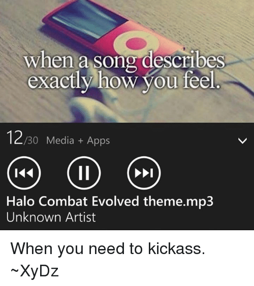 Halo, Apps, and Evolve: when a song describes  exactly how you feel  12  /30 Media Apps  Halo Combat Evolved theme.mp3  Unknown Artist When you need to kickass.  ~XyDz