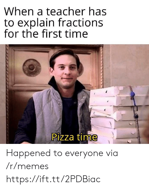 the first time: When a teacher has  to explain fractions  for the first time  Pizza time Happened to everyone via /r/memes https://ift.tt/2PDBiac