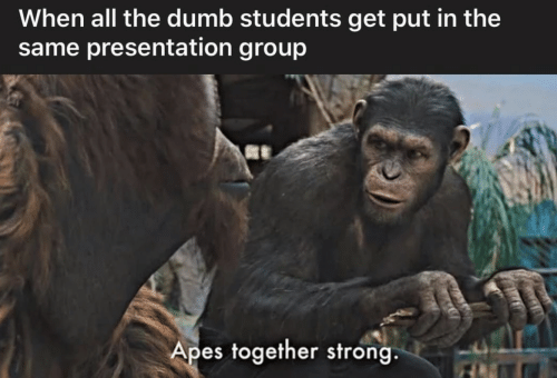 The Dumb: When all the dumb students get put in the  same presentation group  Apes together strong.