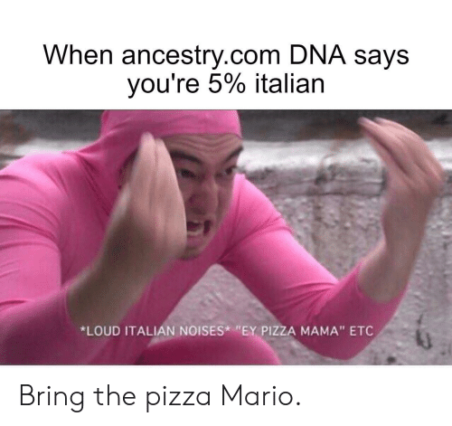 "etc: When ancestry.com DNA says  you're 5% italian  *LOUD ITALIAN NOISES ""EY PIZZA MAMA"" ETC Bring the pizza Mario."
