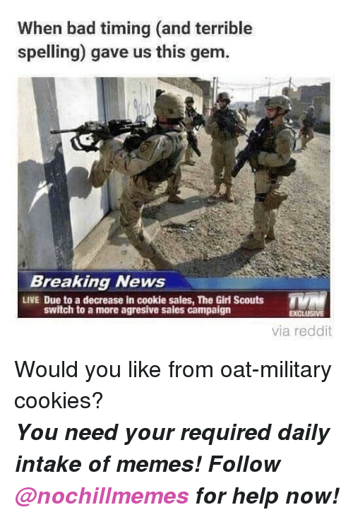 Bad, Cookies, and Girl Scouts: When bad timing (and terrible  spelling) gave us this gem.  Breaking News  LIVE Due to a decrease in cookie sales, The Girl Scouts  switch to a more agresive sales campaign  EXCLUSIVE  via reddit <p>Would you like from oat-military cookies?</p><p><b><i>You need your required daily intake of memes! Follow <a>@nochillmemes</a>​ for help now!</i></b><br/></p>