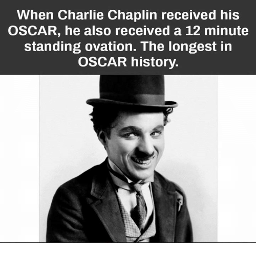 Charlie, Memes, and History: When Charlie Chaplin received his  OSCAR, he also received a 12 minute  standing ovation. The longest in  OSCAR history.