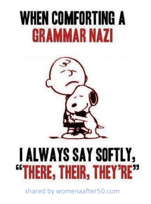 """Grammarly: WHEN COMFORTING A  GRAMMAR NAZ  IALWAYS SAY SOFTLY,  """"THERE, THEIR, THEY'RE""""  shared by womenaafter50.conm"""