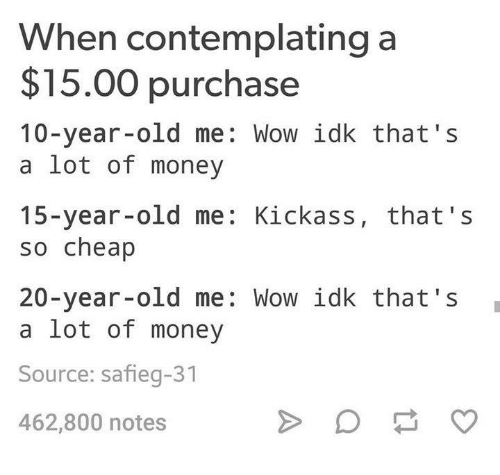 Kickasses: When contemplating a  $15.00 purchase  10-year-old me: Wow idk that's  a lot of money  15-year-old me: Kickass, that's  so cheap  20-year-old me: Wow idk that's  a lot of money  Source: safieg-31  462,800 notes