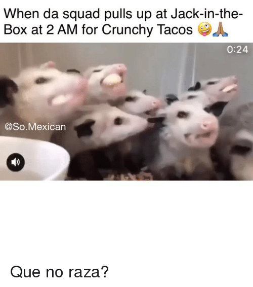 raza: When da squad pulls up at Jack-in-the-  Box at 2 AM for Crunchy Tacos  0:24  @So.Mexican Que no raza?
