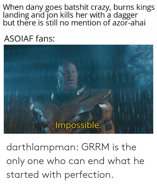 Crazy, Tumblr, and Blog: When dany goes batshit crazy, burns kings  landing and jon kills her with a dagger  but there is still no mention of azor-ahai  ASOIAF fans:  Impossible. darthlampman:  GRRM is the only one who can end what he started with perfection.