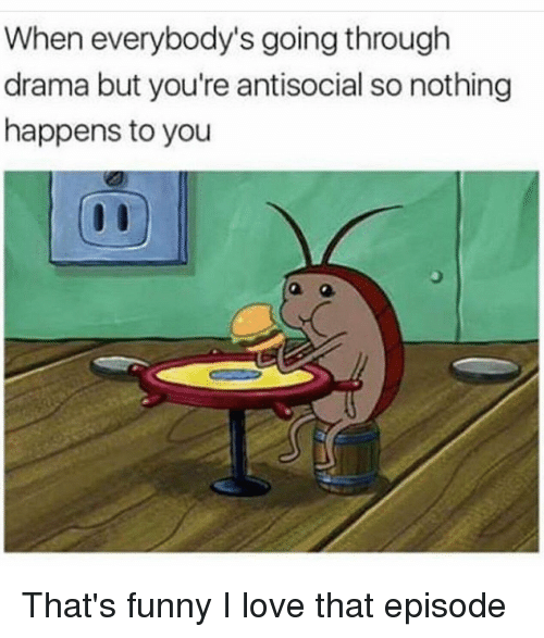 Funny, Love, and Antisocial: When everybody's going through  drama but you're antisocial so nothing  happens to you That's funny I love that episode