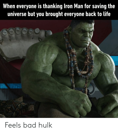 Feels Bad: When everyone is thanking Iron Man for saving the  universe but you brought everyone back to life Feels bad hulk